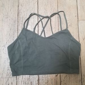 AEO Green Stretchy Strappy Cropped Tank Top Size L